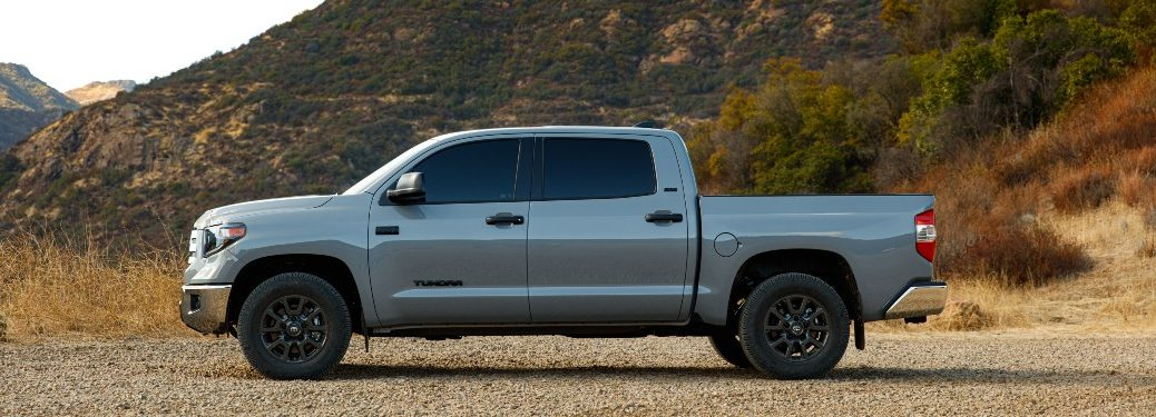 side view of a white 2021 Toyota Tundra