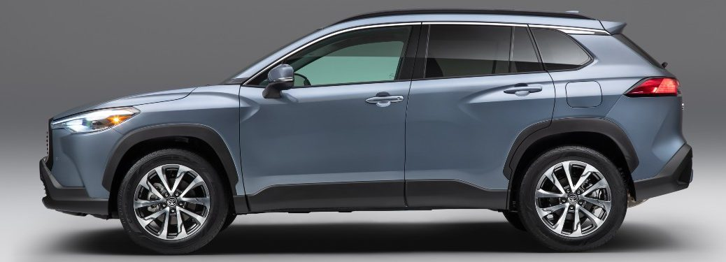 side view of a silver 2022 Toyota Corolla Cross