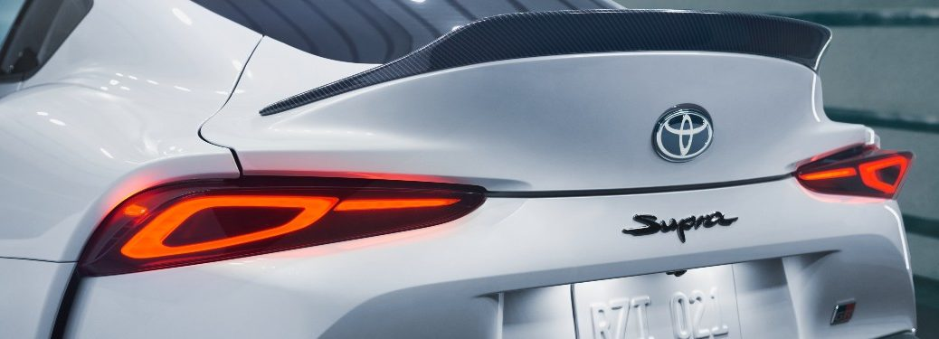 rear end of a white 2022 Toyota GR Supra