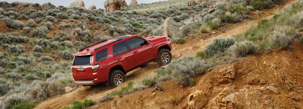 2020 Toyota 4Runner driving up incline from exterior passenger side