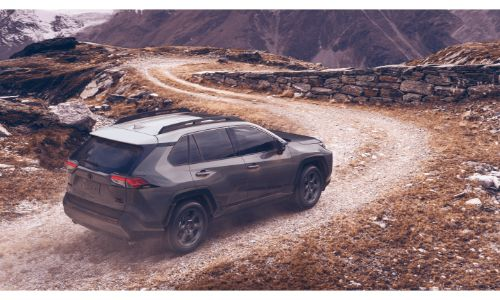 2020 Toyota RAV4 off roading driving down snaking path of gravel