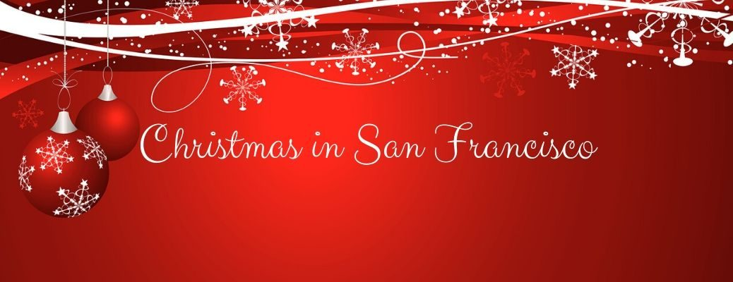 Christmas in San Francisco text on red background with ornaments