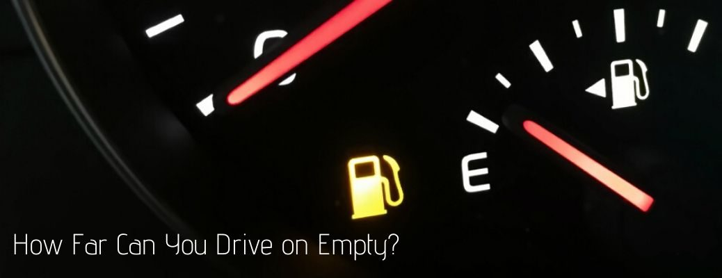 How far can you drive on empty text with fuel gauge showing empty