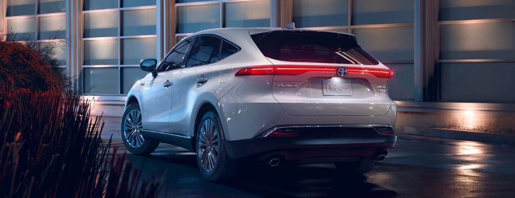 rear view of 2021 Toyota Venza parked at night