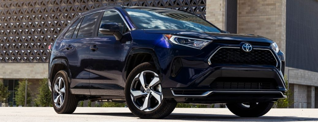 2021 Toyota RAV4 Prime exterior front quarter view from a low angle