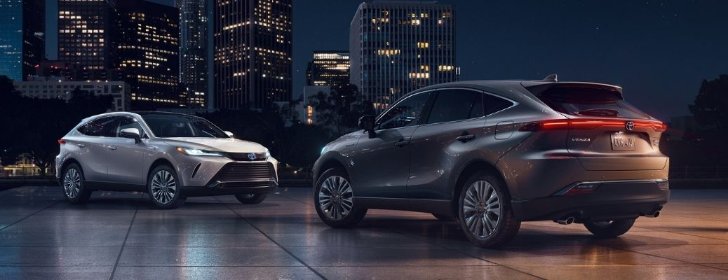 2021 Toyota Venza models parked outside at night facing each other