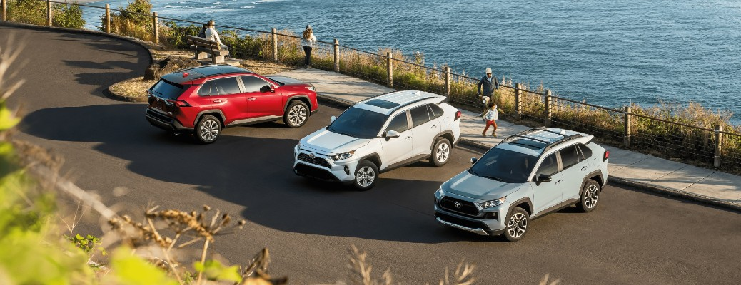 2020 Toyota RAV4 models parked by the water