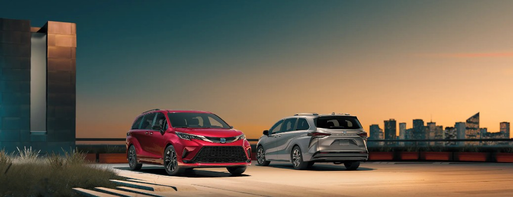 two 2021 toyota sienna models parked facing to each other