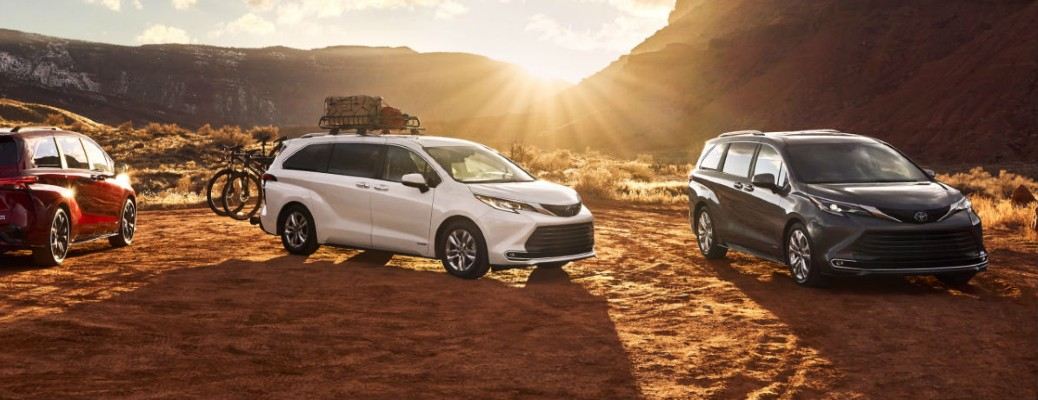 three 2021 Toyota Sienna models next to each other