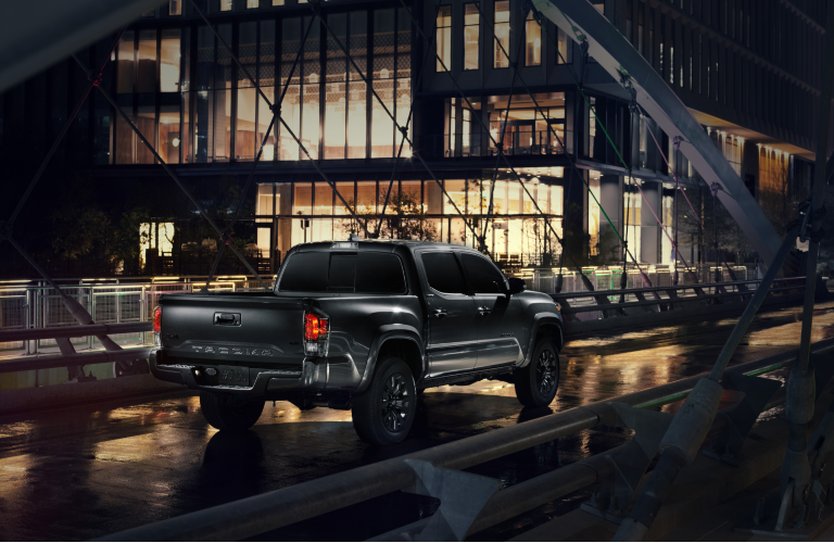 rear view of the 2021 Toyota Tacoma nightshade edition