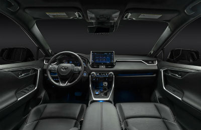2021 toyota rav4 prime interior front seat area dashboard and infotainment center