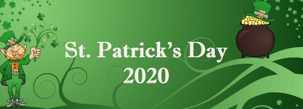 st patricks day 2020 on green background with pot of gold and leprechaun
