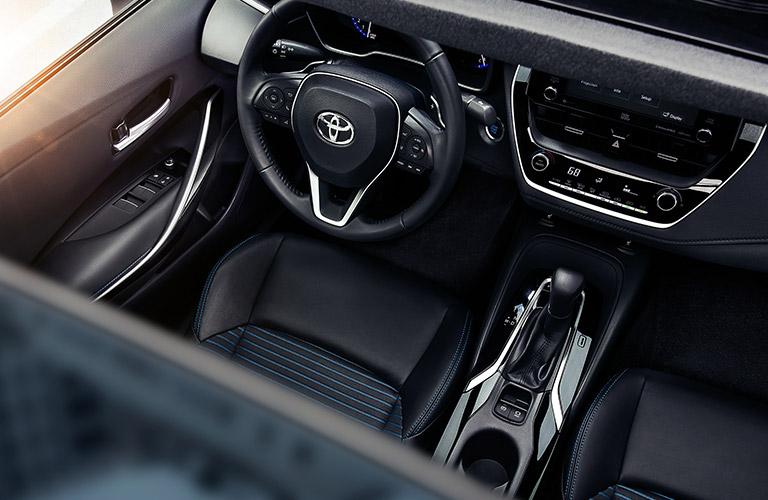 The front interior inside a 2021 Toyota Corolla.