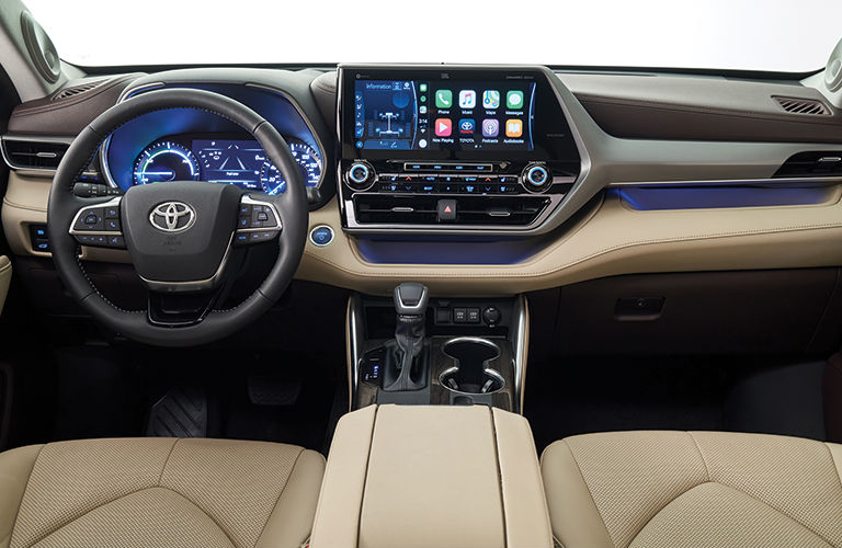 The front interior inside the 2020 Toyota Highlander.