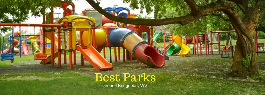 Best Parks around Bridgeport, WV, text on an image of colorful playground equipment at a lush green park