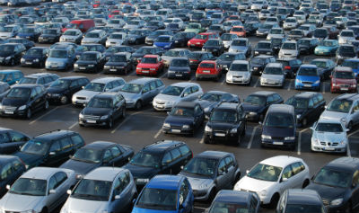 parking lot filled with cars