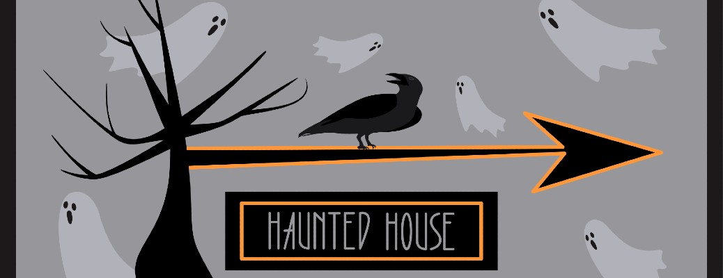 graphic image of a tree and ghosts with arrow pointing to haunted house