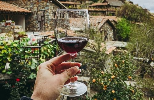 woman holding up glass of red wine outside vineyard