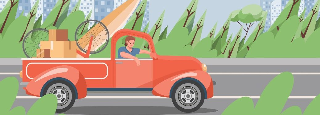 cartoon of a man in a truck with bed full of supplies for a summer trip