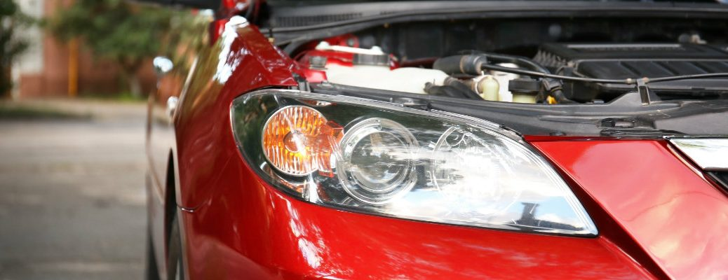Close up of head light with hood up