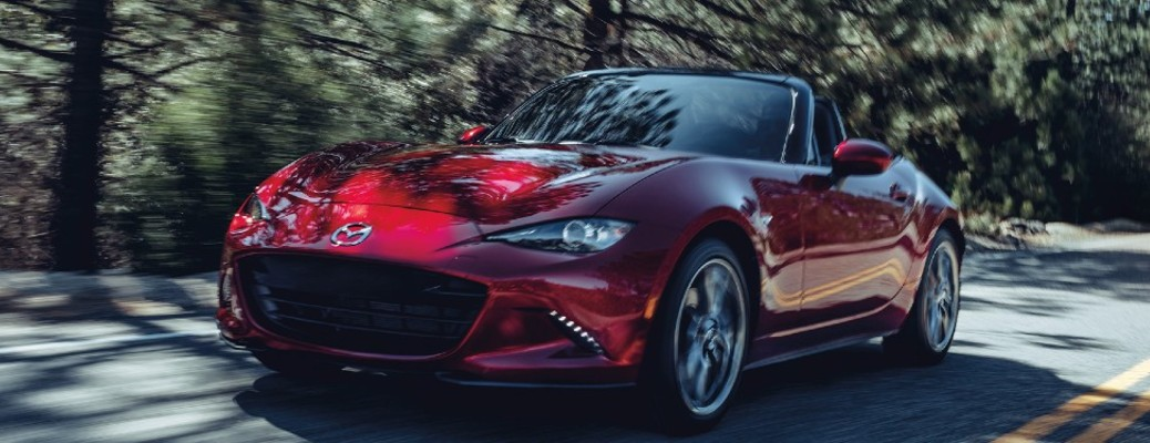 front view of the red 2020 Mazda Miata