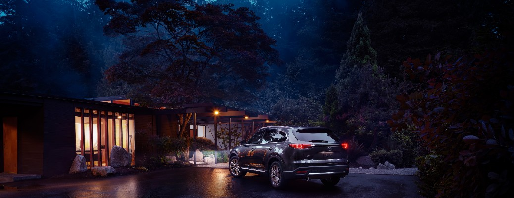 2021 Mazda CX-9 parked by house at night
