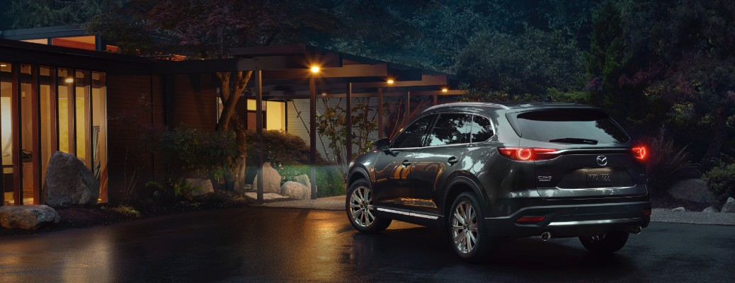2021 Mazda CX-9 parked in driveway at night