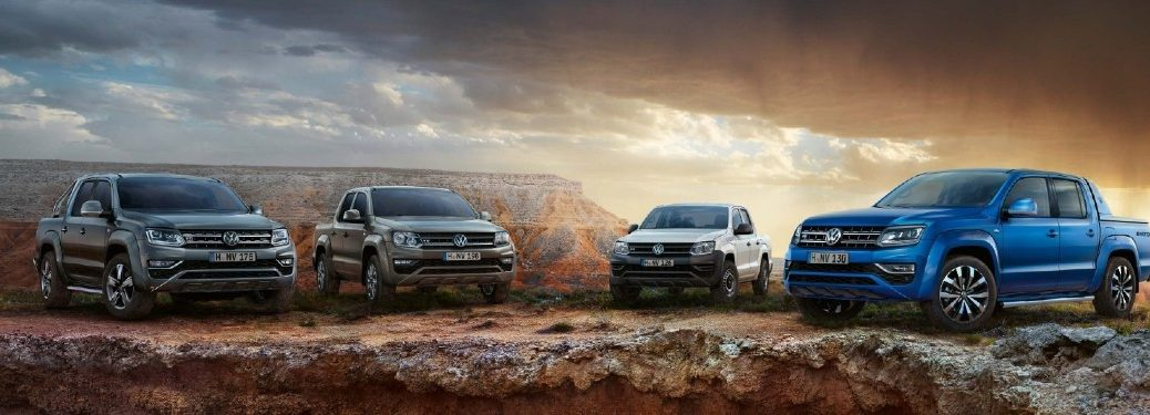 Volkswagen Amarok lineup on rock