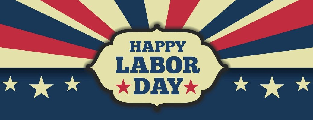 Happy Labor Day sign with red, white, and blue stripes