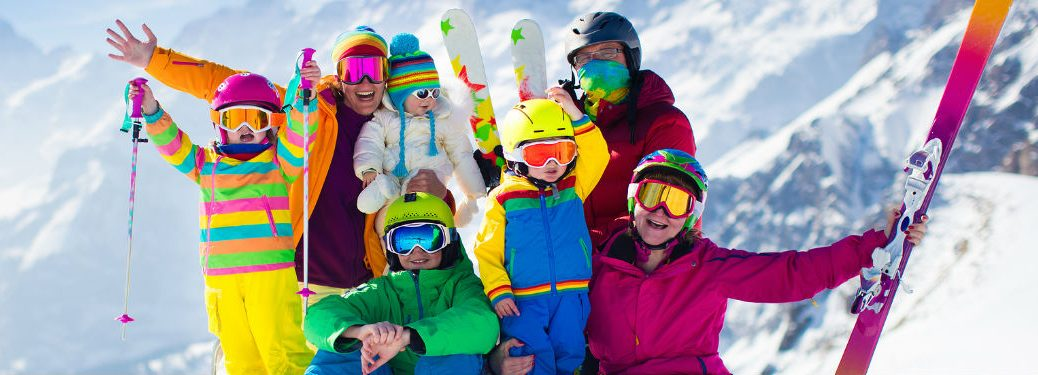 Family wearing ski gear