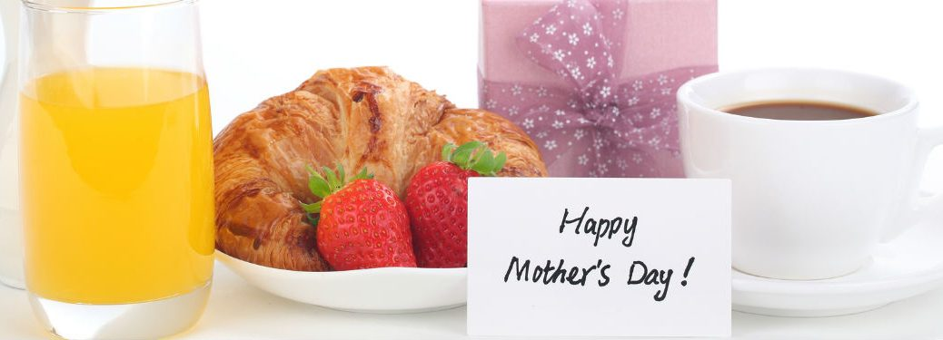 Happy Mother's Day note set before gifts