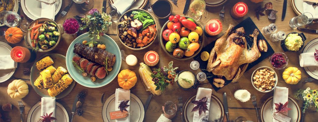 Table set with a Thanksgiving feast