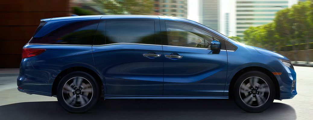 Side profile of blue Honda Odyssey