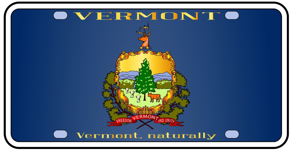 Isolated view of Vermont license plate