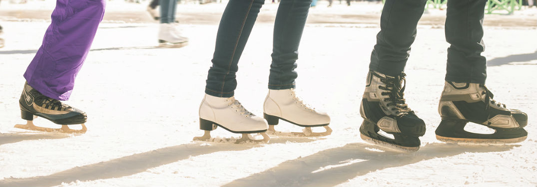 Ice skaters in a row
