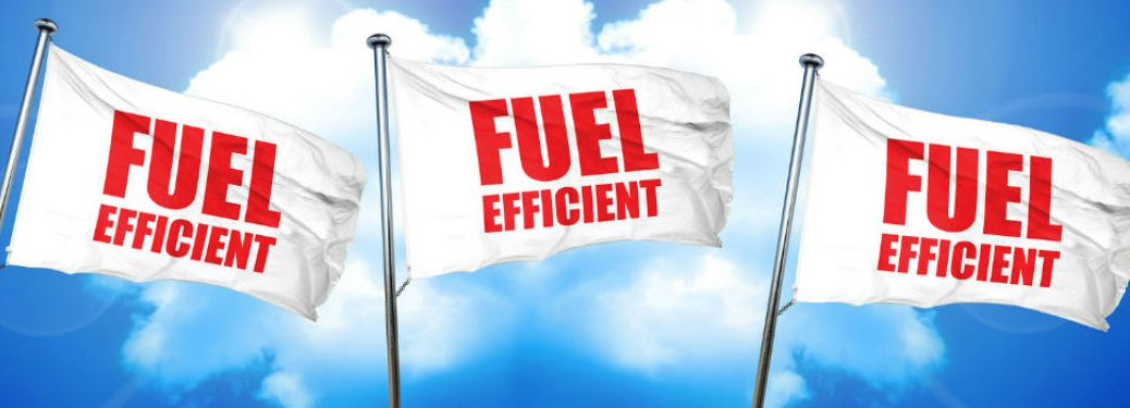 three flags with fuel-efficient text on them