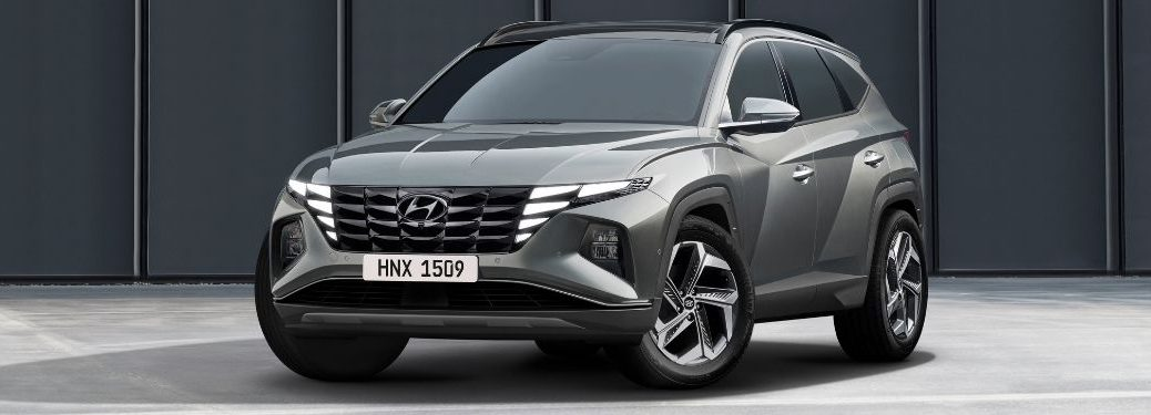 Gray 2022 Hyundai Tucson Front Exterior in a Parking Lot