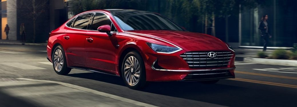 Red 2021 Sonata Hybrid front and side view