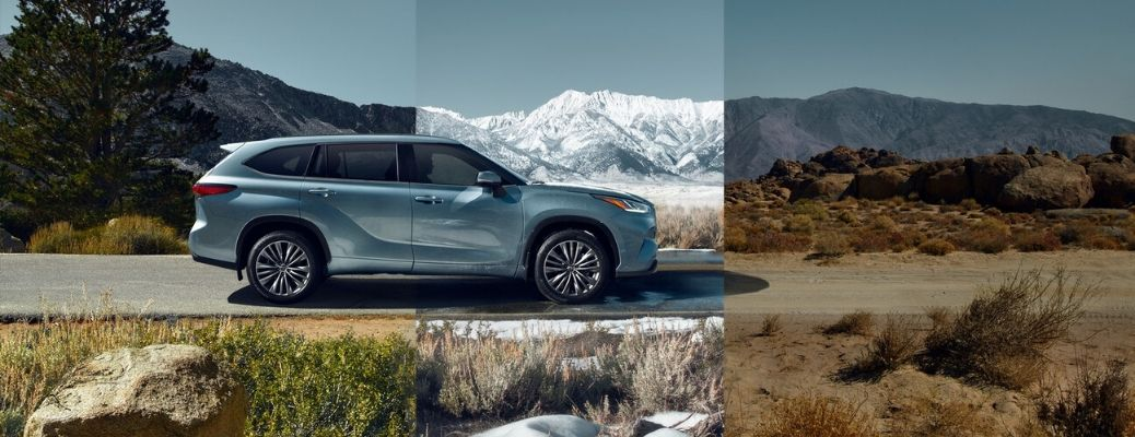 2020 Toyota Highlander from the side with changing seasons