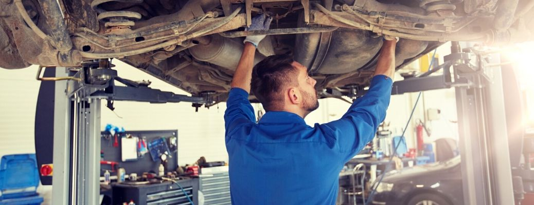 Working on the underside of a vehicle