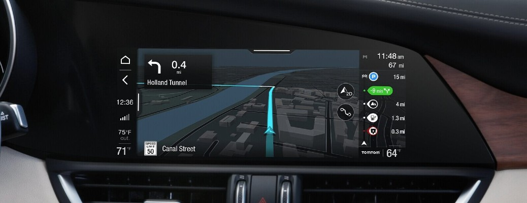 The infotainment screen inside the 2020 Alfa Romeo Guilia.