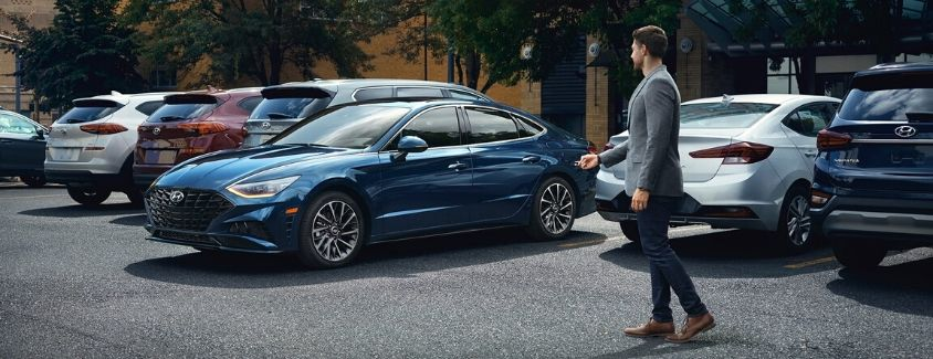 Exterior view of a blue 2020 Hyundai Sonata