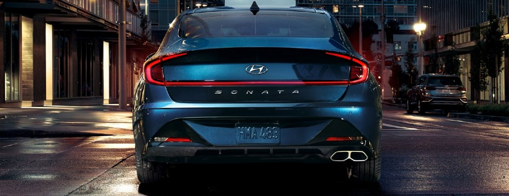 Rear profile of blue 2020 Hyundai Sonata