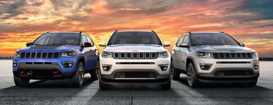 2020 Jeep Compass parked together on the road