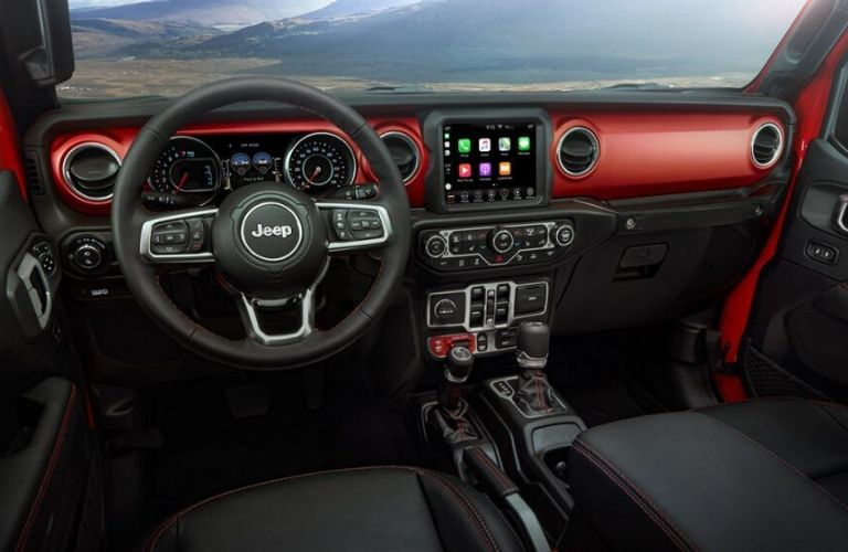 2020 Jeep Gladiator interior dash and wheel view