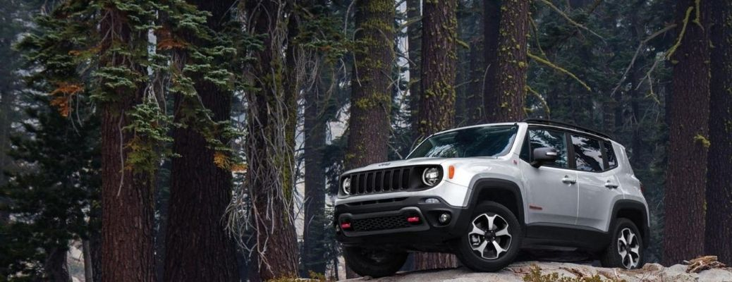 2020 Jeep Renegade parked in a forest