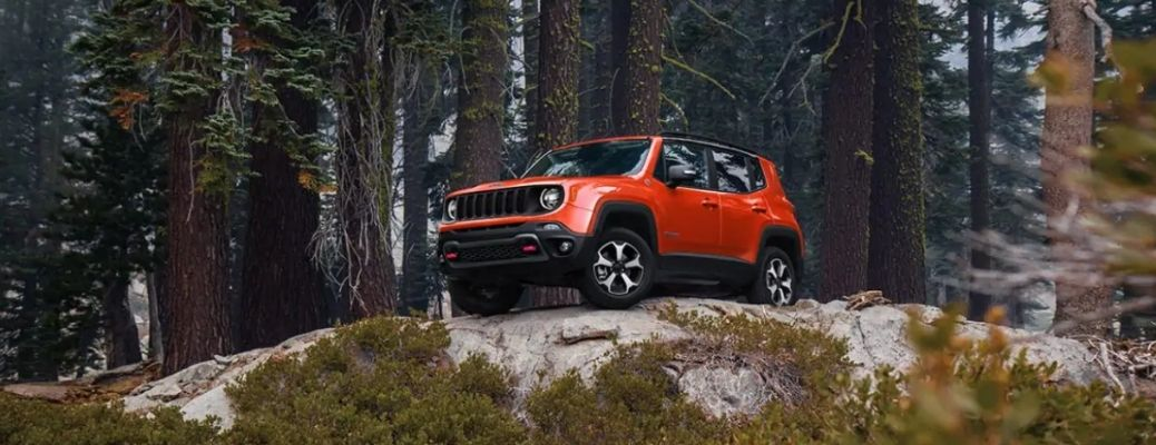 2021 Jeep Renegade parked on a cliff