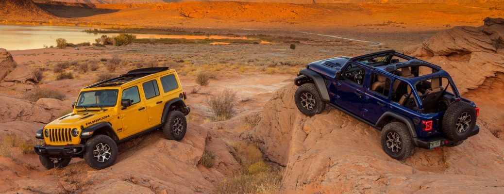 2020 Jeep Wrangler in yellow and blue in the desert