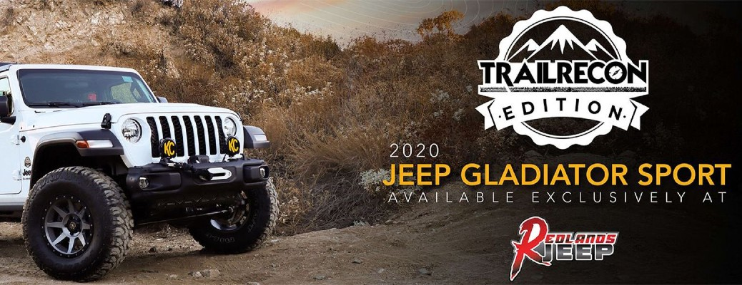 "n image of a white 2020 Jeep Gladiator Sport TrailRecon Edition with a text that says: ""2020 Jeep Gladiator Sport Available Exclusively at Redlands Jeep."""