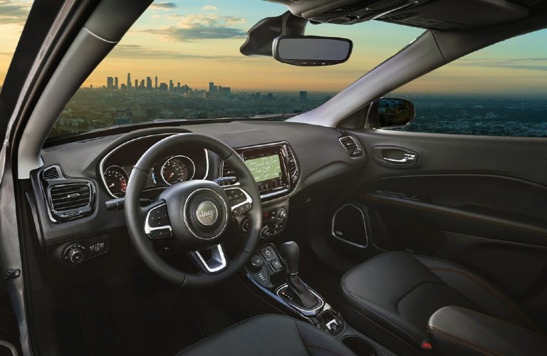 The front interior inside a 2021 Jeep Compass